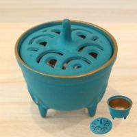 南部鉄器 香炉 直径:8.4cm、高さ(蓋つまみまで)9cm 素材:鉄(鋳物) 6色の中から一つお選...