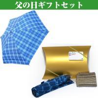 y170078父の日ギフトセットです。青いチェック模様の雨傘とハンカチタオルと「お父さんありがとう」...