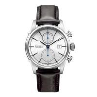 この時計は二針+クロノグラフになります。通常9時の位置にある秒針が省かれ、短針と長針のみで時刻を表示...