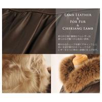 ラムレザー&フォックス&チキャンラムコートベルスリーブ フード付き サイズ 9号 カラー ダークブラウン ブラウン 茶色