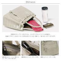 クロコダイルハンドバッグシャイニング加工 鍵付き レディース カラー グレー グレー 灰色