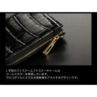 クロコダイル メンズ コンパクト 財布 L字 ファスナー式   ヘンローン   パール   シャイニング (No.06000870-mens-1) 革小物