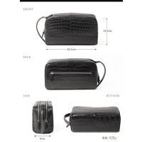 スモールクロコダイル マット加工 ダブルファスナー セカンドバッグ メンズ ブラック H.C.P社製原皮使用