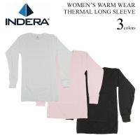 インデラから、女性用の長袖サーマルトップをご紹介。こちらはベーシックな、無地のクルーネックタイプ。重...
