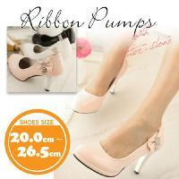 大きいサイズ レディース 靴 パンプス【20〜26.5cm】リボン  ■カラー ピンク、ブラック、ホ...