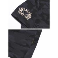バンソン VANSON × ルーニーテューンズ コラボ メンズ Tシャツ バイカートゥイーティー 刺繍プリント 半袖Tシャツ LTV-810-BLACKCAMO