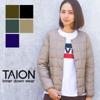 【 TAION タイオン 】 クルーネックボタンダウンジャケット レディース インナーダウン TAION-W104