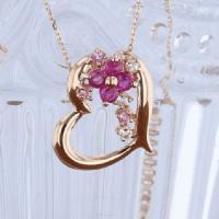 K10 PG ルビー ネックレス ハート フラワー ピンク ゴールド 7月誕生石 10k necklace ruby 誕生日プレゼント ホワイトデー プレゼント