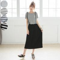 サロペットスカート風半袖ワンピース☆ Tシャツとサロペットスカートが一緒になったデザイン☆ さらっと...