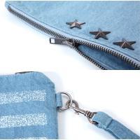 クラッチバッグ メンズ 星条旗プリント 国旗 デニム素材 鞄 かばん カバン 送料無料