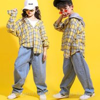 チェック柄 ダンスシャツ デニムパンツ キッズ ダンス衣装 ヒップホップ HIPHOP 子供 セットアップ ジャズダンス衣装 演出服 練習着 ステージ衣装 体操服