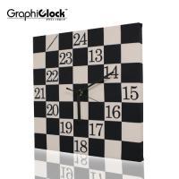 【送料無料】  チェスの碁盤のような白黒のチェック柄でシックなベースに「13時〜24時」の午後の時間...