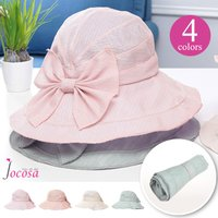 帽子 レディース リボン uv 折りたたみ つば広 紐付き 透明あご紐 大きいサイズ ハット ワイヤー 春 夏 日よけ UV対策 JOCOSA 8680