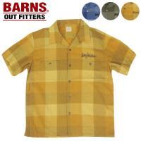 ブロックチェックのオープンカラーシャツ【BR-7523】 (BARNS バーンズ メンズ トップス ...