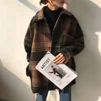 レディース アウター ジャケット チェック柄 ルーズ オーバーサイズ カジュアル 暖か 冬 ブラウン ブラック
