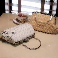 ◆チェーン付き・花モチーフパール施しハンドバッグです。 ◆がま口ストーン仕様でキラキラ・チュール花モ...