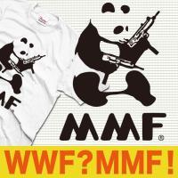 おもしろTシャツ WWF パンダ パロディ マシンガン  デザイン WWFじゃなくてMMFパンダマシ...