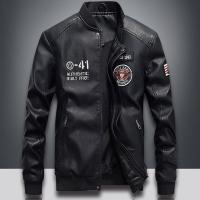 PU革ジャケット メンズ 革ジャン レザージャケット MA-1 立ち襟 裏起毛 保温防寒 大きいサイズ