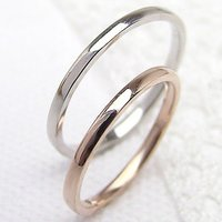 マリッジリング 結婚指輪 シンプル ストレート ピンクゴールドK10 ホワイトゴールドK10 ペアリ...