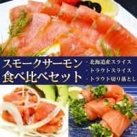 ■セット内容:スモークサーモン食べ比べセット(1)スモーク北海道サーモン(2)スモークサーモントラウ...