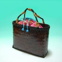 浴衣用竹バッグ 大型 焦げ茶色 中袋付き 手作り品 天然竹