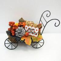 ハロウィンオブジェ アイアン馬車パンプキン 198-035造花アレンジメント・ディスプレイ・デコレーションかぼちゃ・カボチャ