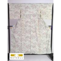 小紋 着物 女性用 薄緑 草花 風景 正絹 シルク 157.5cm Sサイズ Cランク 良品  中古