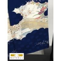 小紋 着物 女性用 青色 草花 松竹梅 正絹 シルク 156.5cm Sサイズ Cランク 良品  中古