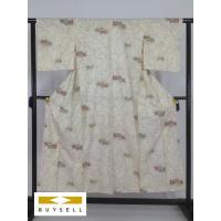 小紋 着物 女性用 クリーム 梅 バチ襟 正絹 シルク 151cm Sサイズ Cランク 良品  中古