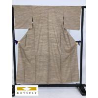 50%OFF 着物 紬 薄茶色 横縞 正絹 154.5cm SSサイズ Cランク 中古 リサイクル スピ買