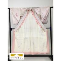 50%OFF 着物 付下げ 薄ピンク 一つ紋 紗綾形、花 正絹 155cm Sサイズ Bランク 中古 リサイクル スピ買