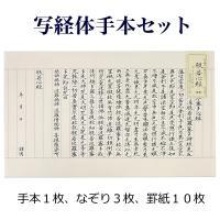 ◆ セット内容 ◆ お手本 1枚 なぞり用紙 3枚 罫紙 10枚  写経用紙が独特です。紙の質の違い...