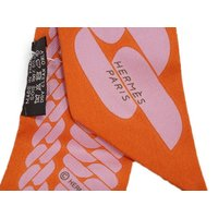 HERMES エルメス ツイリー ソルド スカーフ 86x5 シルクツイル オレンジ/パウダーピンク H062917S20