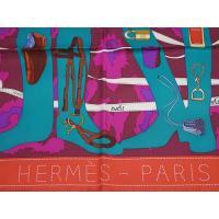エルメス スカーフ HERMES ソルド カレ 90CMS ツイル シルク100% MONSIEUR ET MADAME バーミリオン/ガーネット/オフホワイト 29134