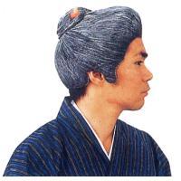変装用のおばさんかつらです。白・黒の人工毛を豊富に使い、ボリュームを出し、束ねた髪をオレンジの簪で留...