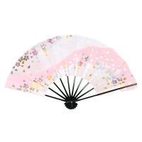 地色は桜色とピンクの擦れたボカシ調、金銀色箔のメタリックレインボーの桜吹雪が舞う明るく華やかな舞扇で...