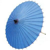 日本舞踊や歌舞伎で使われるライトブルーの紙舞傘です。中国製舞傘ですが、お値段の割りに丁寧な仕上がりで...