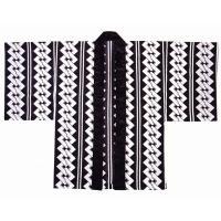 黒地に白の吉原つなぎ&兄弟縞を配した手古舞専用の半纏です。鮮やかな色柄の着物(襦袢)の上に、この吉原...