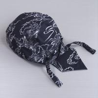 黒地に昇り龍・入道雲の粋なバンダナキャップです。あらかじめ頭の形に縫製してありますので後ろで結ぶだけ...