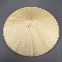 菅(すげ)製の角笠です。てっぺんから軒にかけて一直線の平べったい円錐形(富士山型)の笠です。おもに農...