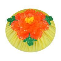 大きな鮮やかな緋色の紅花「べにばな」を冠した黄色の花笠です。花笠祭り、盆踊り、舞台ステージ用にご利用...