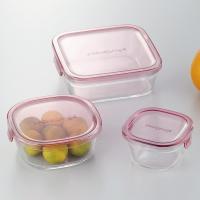耐熱ガラス食品保存容器 蓋 フタ付き 3点セット ピンク