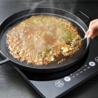 ■商品説明 卓上コンロや卓上IH調理器でも使えるお好み焼き用鉄板! お好み焼きではもちろん、焼き肉や...