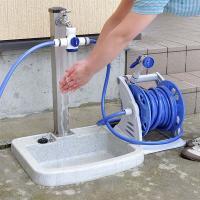 ■商品説明 水の方向が3方向に切り替えできる! シャワー1口、ホースリール接続口2口、2方向に切り替...