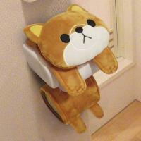 トイレットペーパーホルダー用カバー 予備ストック付き おしゃれ かわいい アニマル 動物 猫 犬