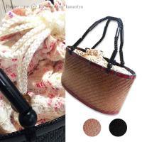 ゆかた姿に欠かせない一体型の竹かごレース巾着バッグ。 マチが広めなのでお財布やスマホ、化粧品、ペット...