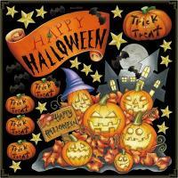 窓ガラス黒板看板に貼れるおしゃれでポップな手書き風イラスト飾りシール。ハロウィン、かぼちゃ、hall...