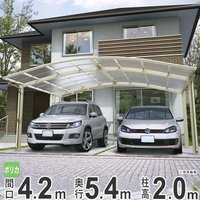 並列駐車タイプのYKK ap社2台用カーポート、風による屋根ふき材の抜け強度を向上させ、押さえ強度の...