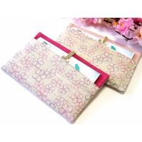 【花楽堂オリジナルの特注品】・・・きれいな懐紙入れができました!!  ピンクの無地麻と、桜の麻布を組...