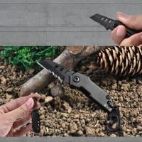 キーホルダー型ミニナイフ 鋸 アウトドアツール   ポータブル、小型軽量、フック付き、持ち運びに便利...
